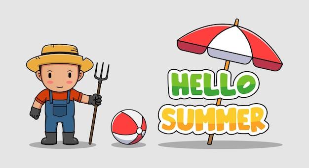 Agriculteur mignon avec bannière de voeux d'été bonjour