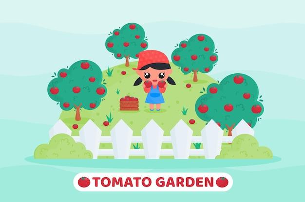 Agriculteur mignon récoltant la tomate rouge dans le jardin de tomates avec la tenue de tomates à la main