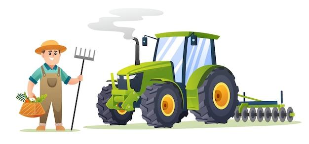 Agriculteur mignon tenant des légumes biologiques et une houe à fourche à côté de l'illustration du tracteur