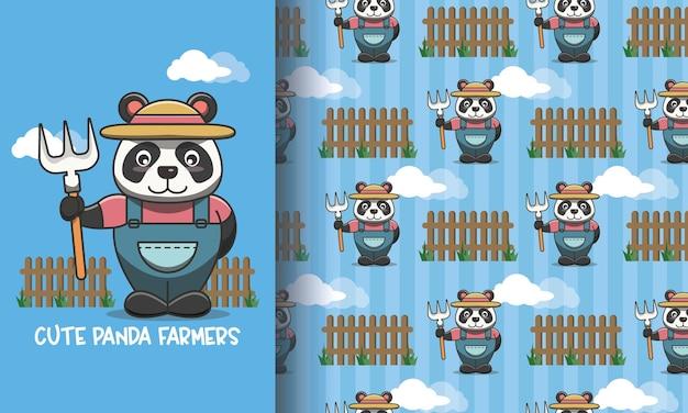 Agriculteur panda dans le jardin. ensemble d'illustrations et de motifs
