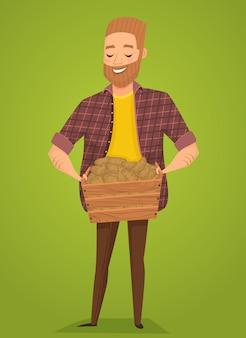 Agriculteur avec un panier dans les mains