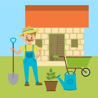 Agriculteur avec pelle ou jardinier.
