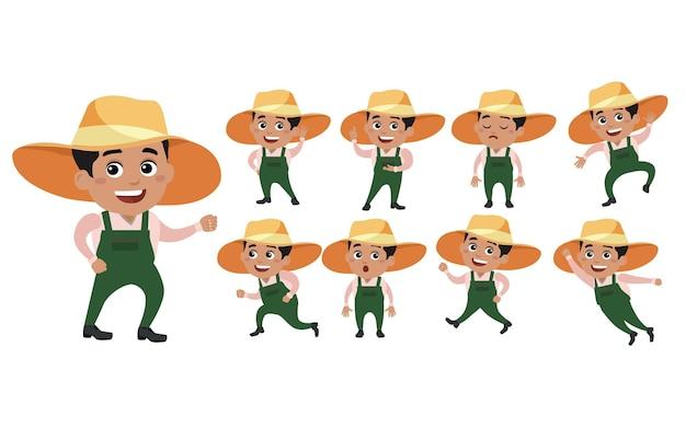 Agriculteur avec des poses différentes. vecteur