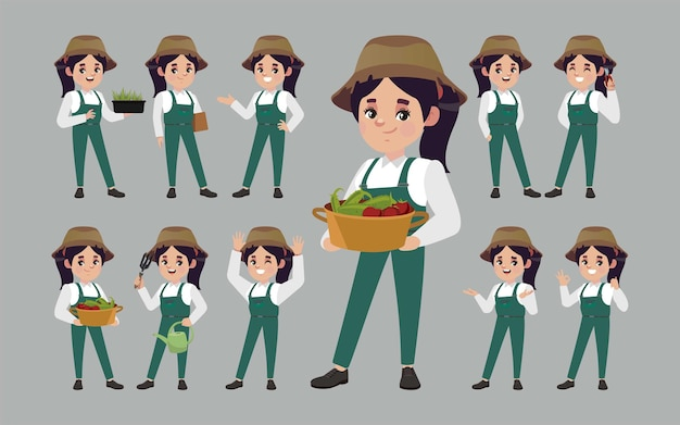 Agriculteur avec des poses différentes.