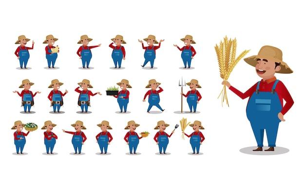 Agriculteur de profession avec des poses différentes