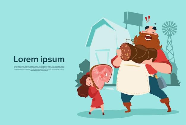 Agriculteur avec sa fille tenir la jambe de cochon