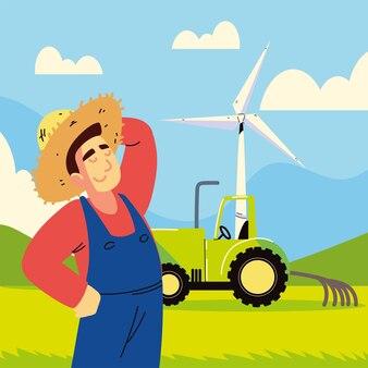 Agriculteur avec tracteur