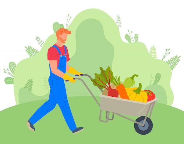 Agriculteur utilisant un chariot pour transporter des légumes