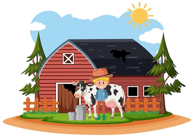 Agriculteur à la vieille ferme rurale