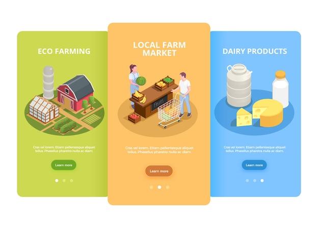 Les agriculteurs commercialisent 3 bannières web verticales isométriques avec illustration de produits laitiers et de légumes écologiques locaux