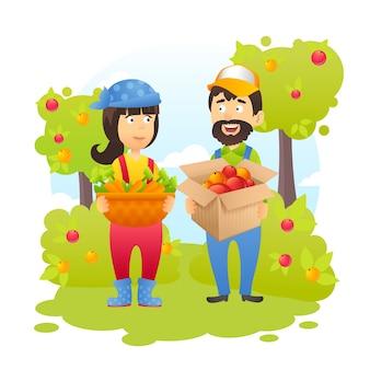 Agriculteurs dans le jardin