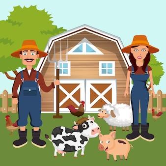 Les agriculteurs dans la scène de la ferme