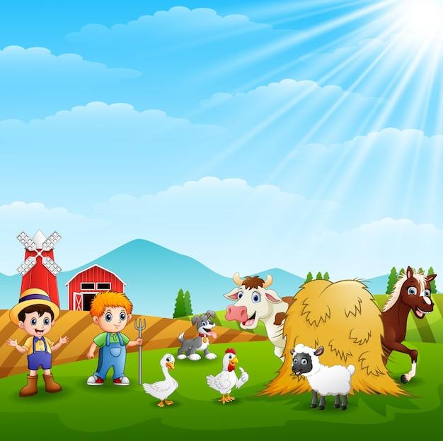 Les agriculteurs gardent les animaux à la ferme