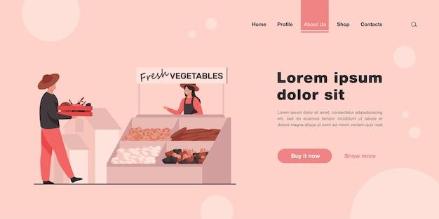 Agriculteurs heureux vendant une page de destination de légumes frais dans un style plat
