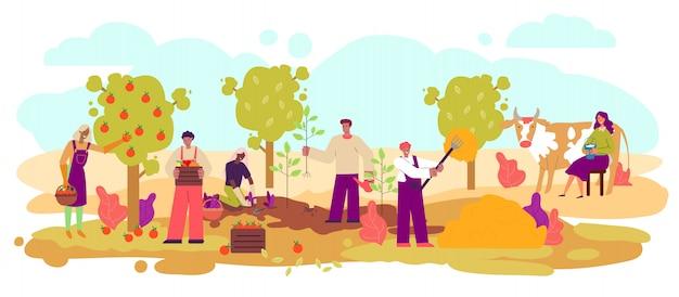 Agriculteurs récoltant et poussant des animaux croquis illustration vectorielle isolé.