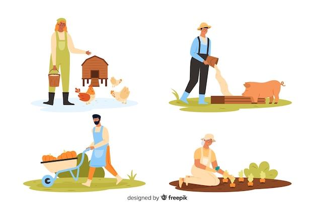 Agriculteurs travaillant à la campagne