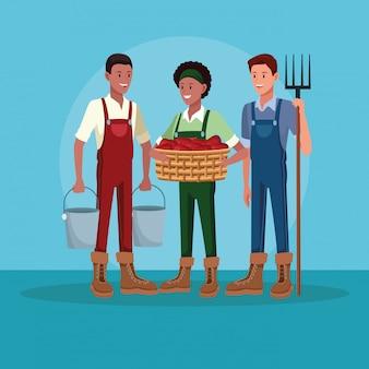 Agriculteurs travaillant dans des dessins animés agricoles
