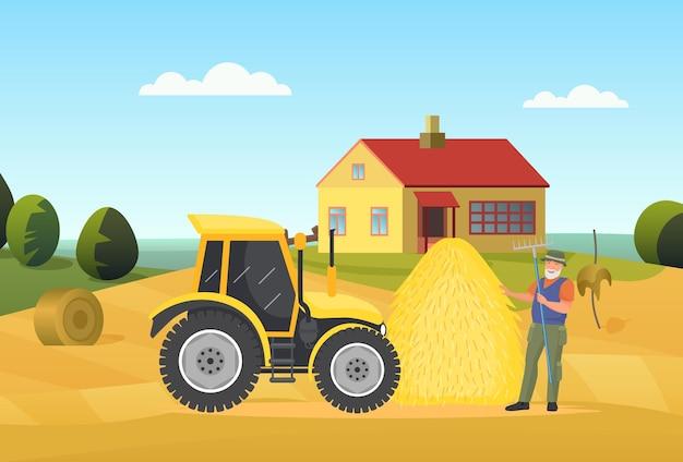 Les agriculteurs travaillent dans le paysage rural du village tenant une fourche debout près du tracteur