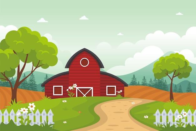 Agriculture et agriculture paysage rural, paysage de campagne, mignon et branché avec un design plat