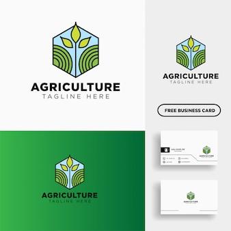 Agriculture eco ligne verte art logo modèle icône élément