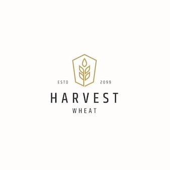 L'agriculture de grain de blé logo icône modèle de conception vecteur plat