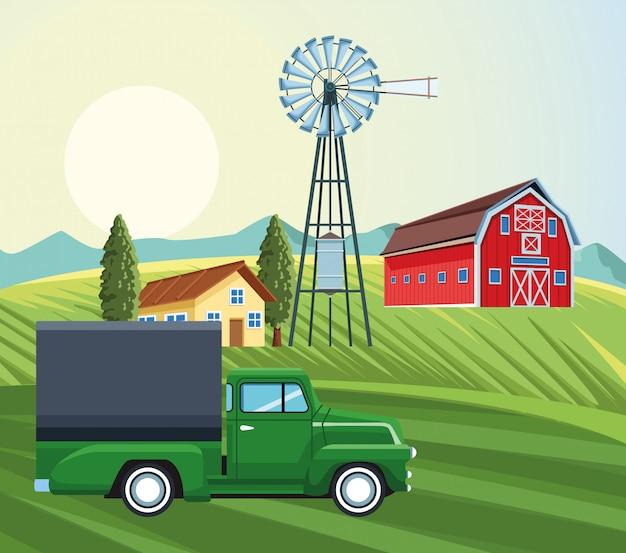 Agriculture grange maison moulin à vent camion arbres prairie