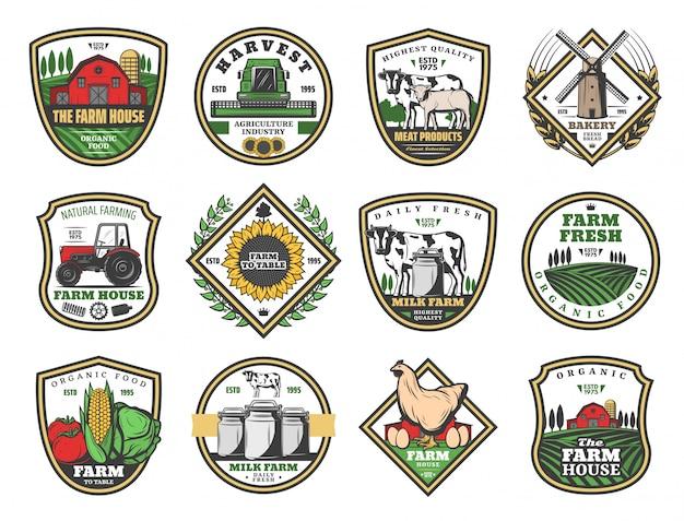 Agriculture maison de ferme, produits alimentaires agricoles