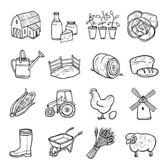 Agriculture noir blanc icons set