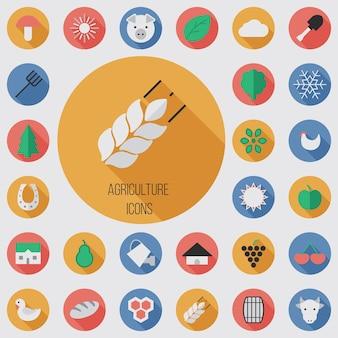 Agriculture plate, jeu d'icônes numériques avec effet d'ombre portée pour le web et le mobile