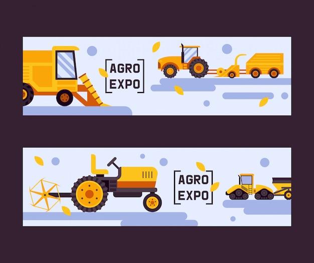 Agro exposition ensemble de bannière. machine de récolte. equipement pour l'agriculture. véhicules de ferme industriels, transport de tracteurs, moissonneuses-batteuses