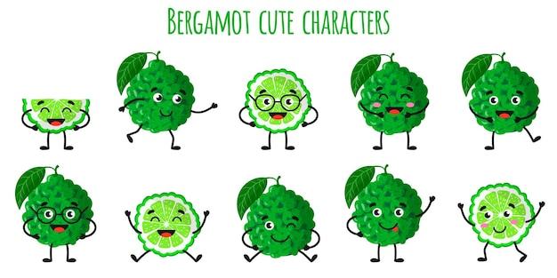 Agrumes bergamote mignons personnages gais drôles avec différentes poses et émotions. collection de nourriture de désintoxication antioxydante de vitamine naturelle. illustration isolée de dessin animé.