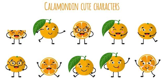 Agrumes calamondin mignons personnages gais drôles avec différentes poses et émotions. collection de nourriture de désintoxication antioxydante de vitamine naturelle. illustration isolée de dessin animé.