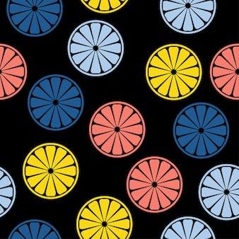 Agrumes faits à la main abstraits ronds sans soudure de fond. papier peint artisanal enfantin pour carte de design, couche pour bébé, couche-culotte, menu de café, papier d'emballage de vacances, impression de sac, t-shirt, etc.