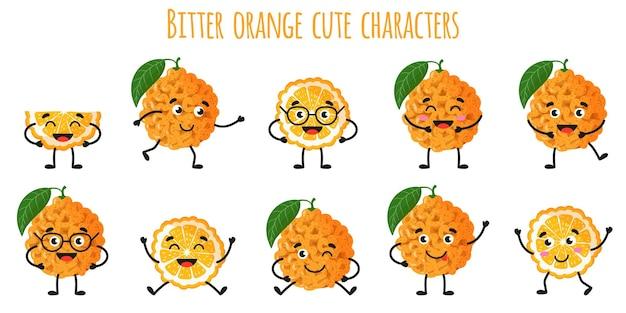 Agrumes orange amère mignons personnages gais drôles avec différentes poses et émotions. collection de nourriture de désintoxication antioxydante de vitamine naturelle. illustration isolée de dessin animé.