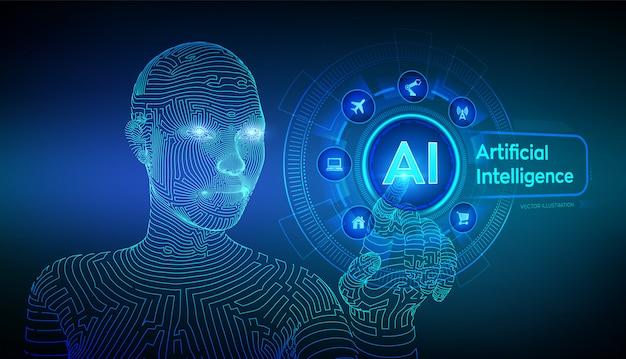 Ai. intelligence artificielle. main de cyborg féminine filaire touchant l'interface graphique numérique.