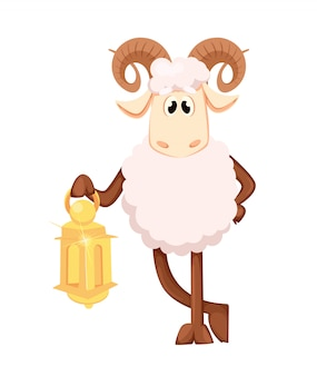 Aïd al-adha. funny ram holding lantern