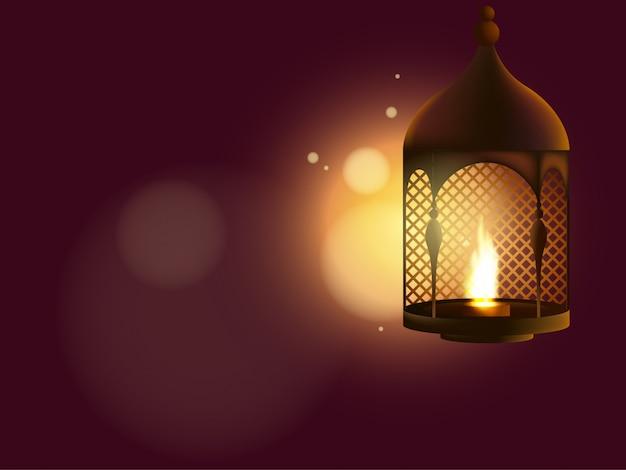 Aïd al adha illustration avec lampe réaliste