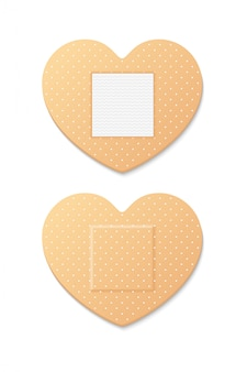 Aid band plaster strip medical patch heart deux côtés. illustration sur fond blanc