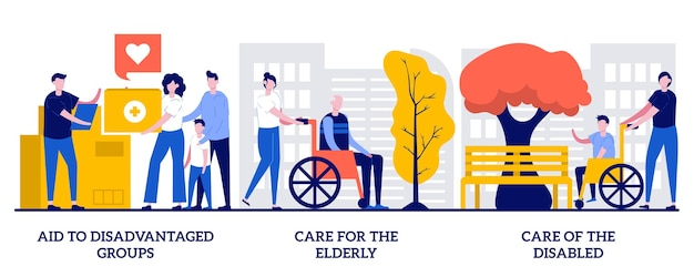 Aide aux groupes défavorisés, soins aux personnes âgées, concept d'aide aux personnes handicapées avec des personnes minuscules. ensemble d'illustrations vectorielles abstraites à but non lucratif et bénévoles. métaphore du soutien social aux personnes dans le besoin.