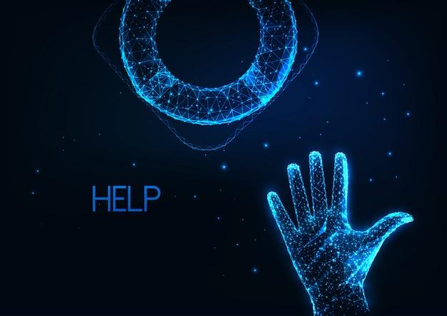Aide économique futuriste, concept de soutien de crise avec main humaine polygonale basse rougeoyante