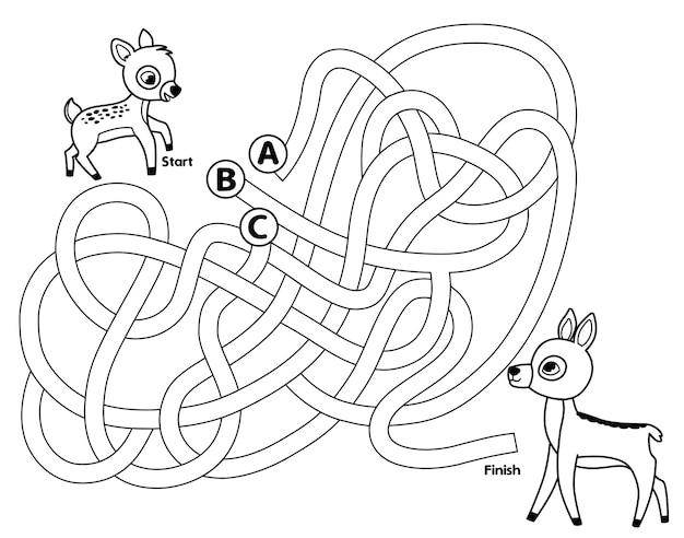 Aide le faon à atteindre sa mère jeu de labyrinthe noir et blanc pour enfants