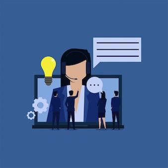 Aide en ligne assistant recevoir se plaindre apporter une nouvelle idée.