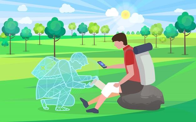Aide en ligne, soins médicaux pour un randonneur blessé au genou