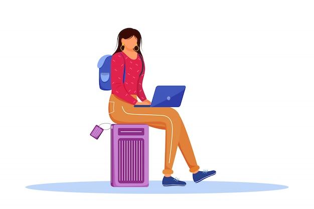 À l'aide d'un ordinateur portable pendant l'illustration vectorielle plane de voyage. réservation d'hôtel en ligne. travailler comme pigiste lors de voyages à l'étranger. personnage de dessin animé isolé de préparation de voyage