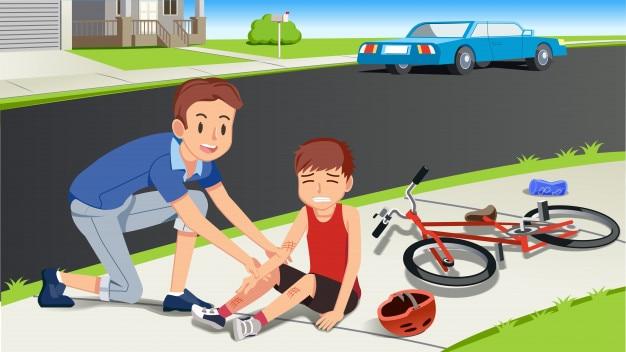 Aider les enfants après un accident de bicyclette
