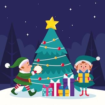 Aides de pères noël avec des boîtes-cadeaux et arbre de noël sur la nuit enneigée, desgin coloré, illustration
