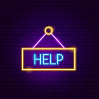 Aidez l'enseigne au néon. illustration vectorielle de la promotion des entreprises.