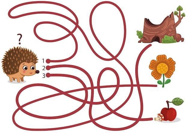 Aidez le hérisson à trouver le chemin de la pomme et du champignon dans le jeu de labyrinthe illustration vectorielle