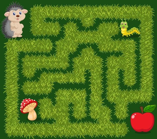 Aidez le hérisson à trouver le chemin des pommes