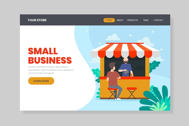 Aidez la page de destination de l'entreprise locale